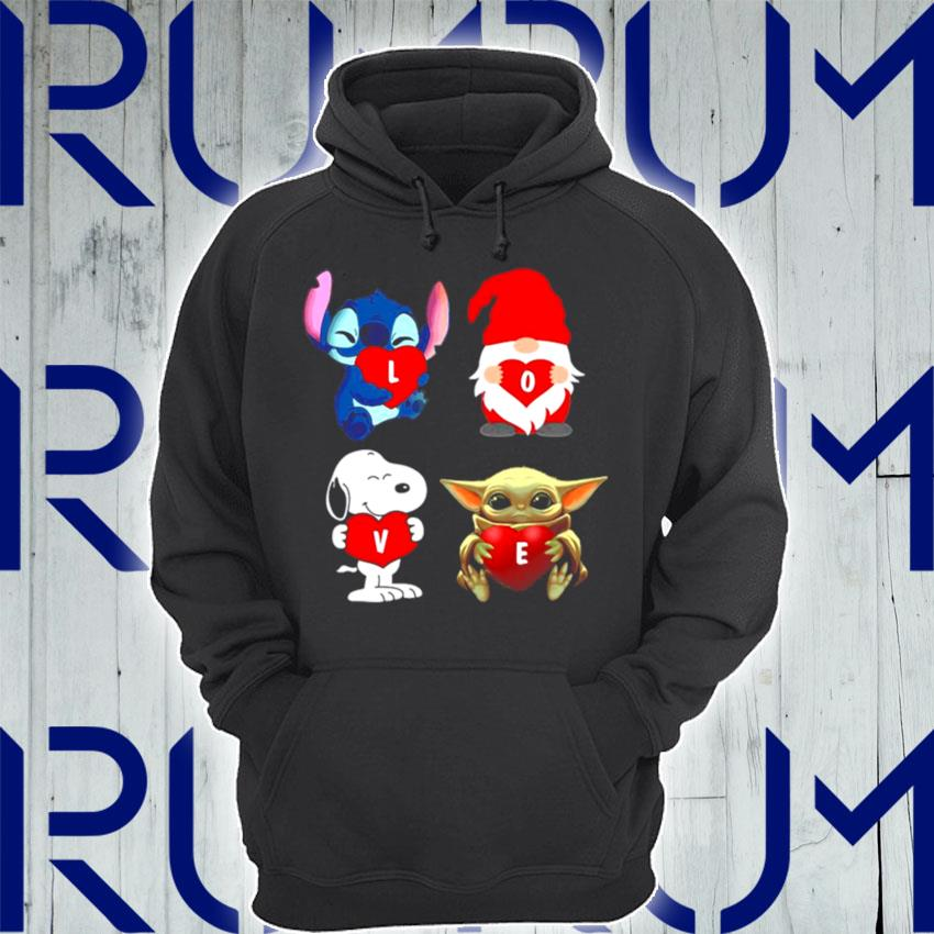 Love Stitch Gnome Snoopy And Yoda 2021 s Hoodie