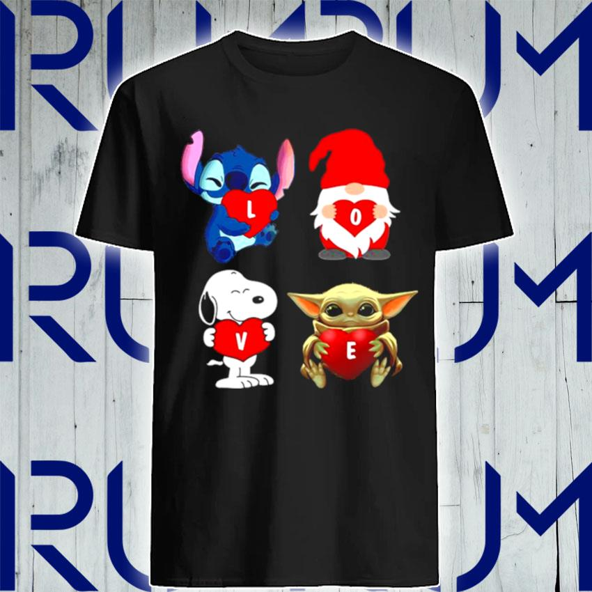 Love Stitch Gnome Snoopy And Yoda 2021 shirt