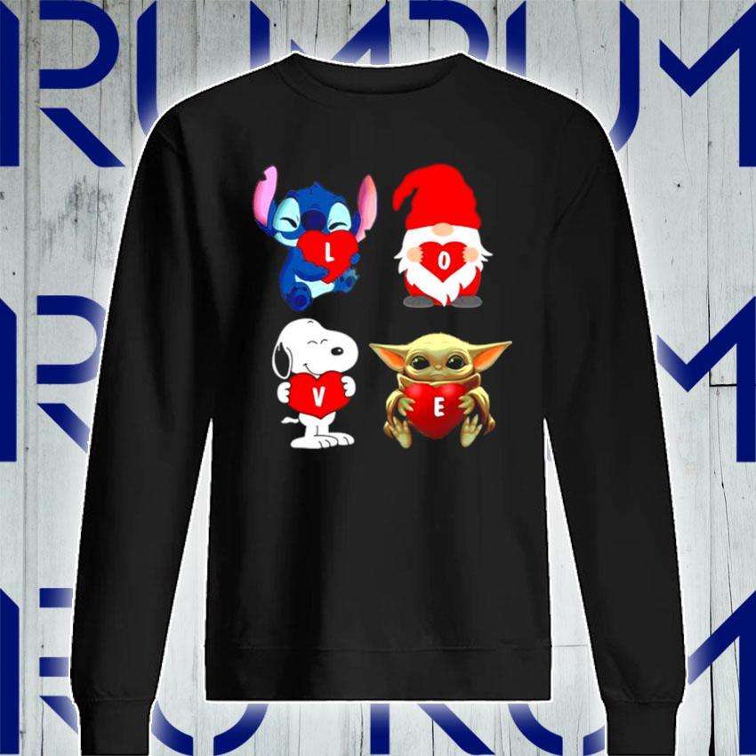 Love Stitch Gnome Snoopy And Yoda 2021 s Sweatshirt