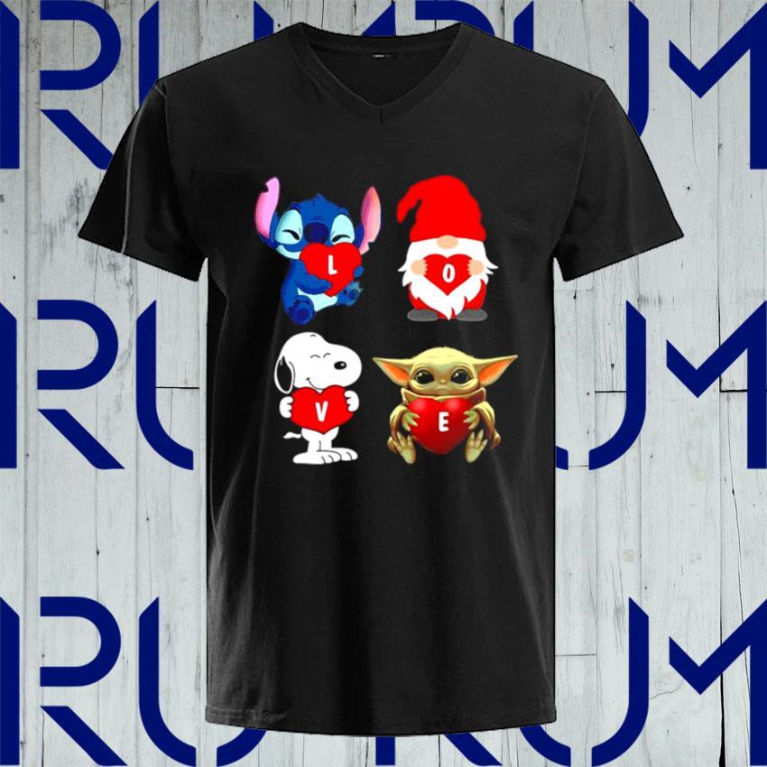 Love Stitch Gnome Snoopy And Yoda 2021 s V-neck