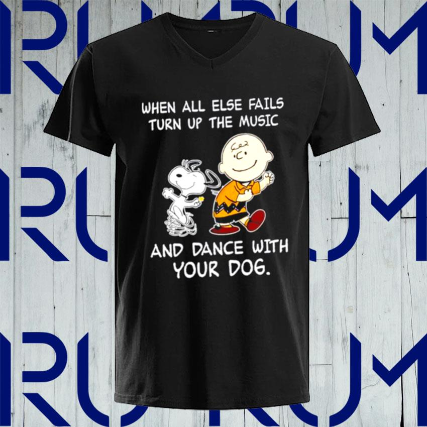 Snoopy and Woodstocks when all else fails turn up the music and dance with your dog s V-neck