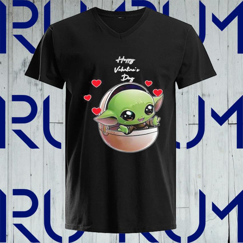 The Mandalorian Baby Yoda Happy Valentine Day 2021 s V-neck